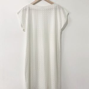 Vintage Ivory Diamond Stitch Shift Dress Medium